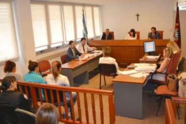 Las tres acusadas en una de las audiencias de juicio, en Ciudad Judicial.